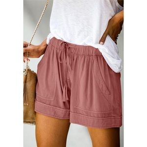 Solid Drawstring Casual Linen Shorts